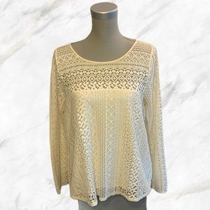 Hollister | Fully Laced Cream BoHo Peasant Blouse